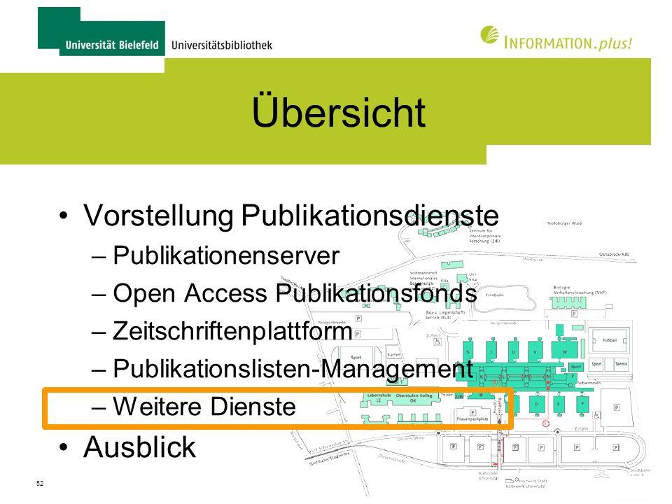 53 Weitere Dienste Registrierung von Publikationen –ISBN, DOI etc.