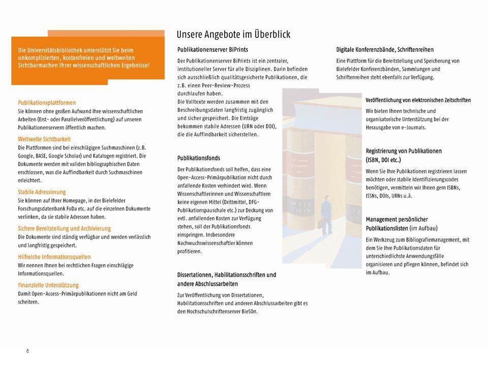 7 Übersicht Vorstellung Publikationsdienste –Publikationenserver –Open Access Publikationsfonds –Zeitschriftenplattform –Publikationslisten-Management –Weitere Dienste Ausblick