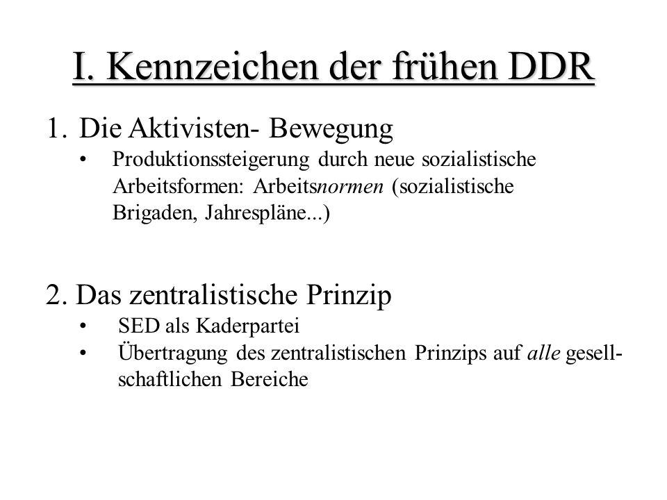 I. Kennzeichen der frühen DDR 1.Die Aktivisten- Bewegung Produktionssteigerung durch neue sozialistische Arbeitsformen: Arbeitsnormen (sozialistische
