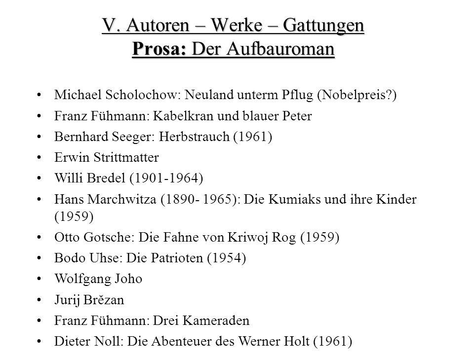 Michael Scholochow: Neuland unterm Pflug (Nobelpreis?) Franz Fühmann: Kabelkran und blauer Peter Bernhard Seeger: Herbstrauch (1961) Erwin Strittmatter Willi Bredel (1901-1964) Hans Marchwitza (1890- 1965): Die Kumiaks und ihre Kinder (1959) Otto Gotsche: Die Fahne von Kriwoj Rog (1959) Bodo Uhse: Die Patrioten (1954) Wolfgang Joho Jurij Brĕzan Franz Fühmann: Drei Kameraden Dieter Noll: Die Abenteuer des Werner Holt (1961) V.