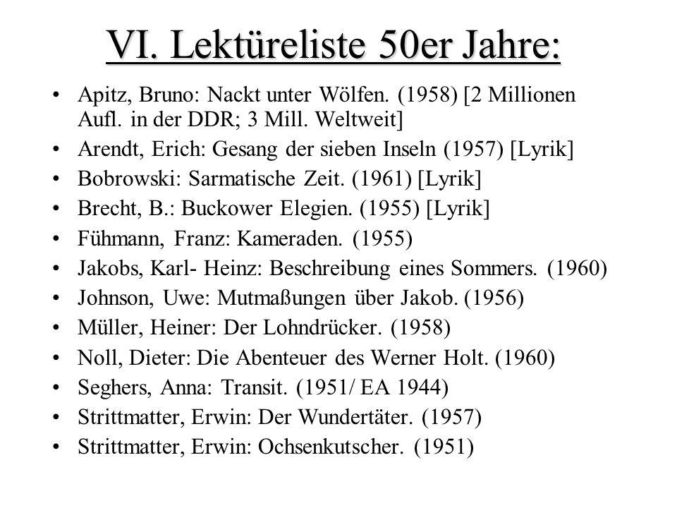 VI.Lektüreliste 50er Jahre: Apitz, Bruno: Nackt unter Wölfen.