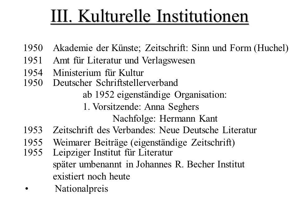 III. Kulturelle Institutionen 1951 Amt für Literatur und Verlagswesen 1954Ministerium für Kultur 1950 Deutscher Schriftstellerverband ab 1952 eigenstä