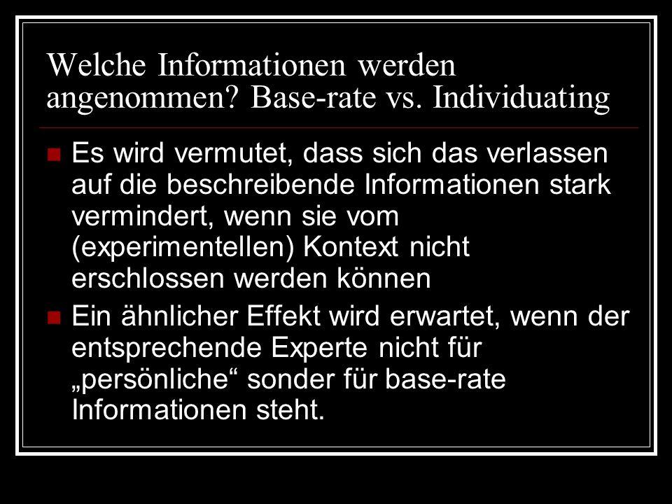 Welche Informationen werden angenommen? Base-rate vs. Individuating Es wird vermutet, dass sich das verlassen auf die beschreibende Informationen star