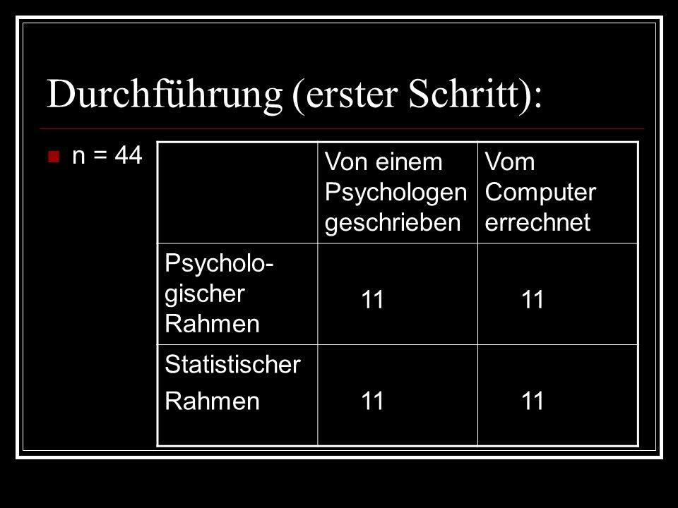 Durchführung (erster Schritt): n = 44 Von einem Psychologen geschrieben Vom Computer errechnet Psycholo- gischer Rahmen 11 Statistischer Rahmen 11