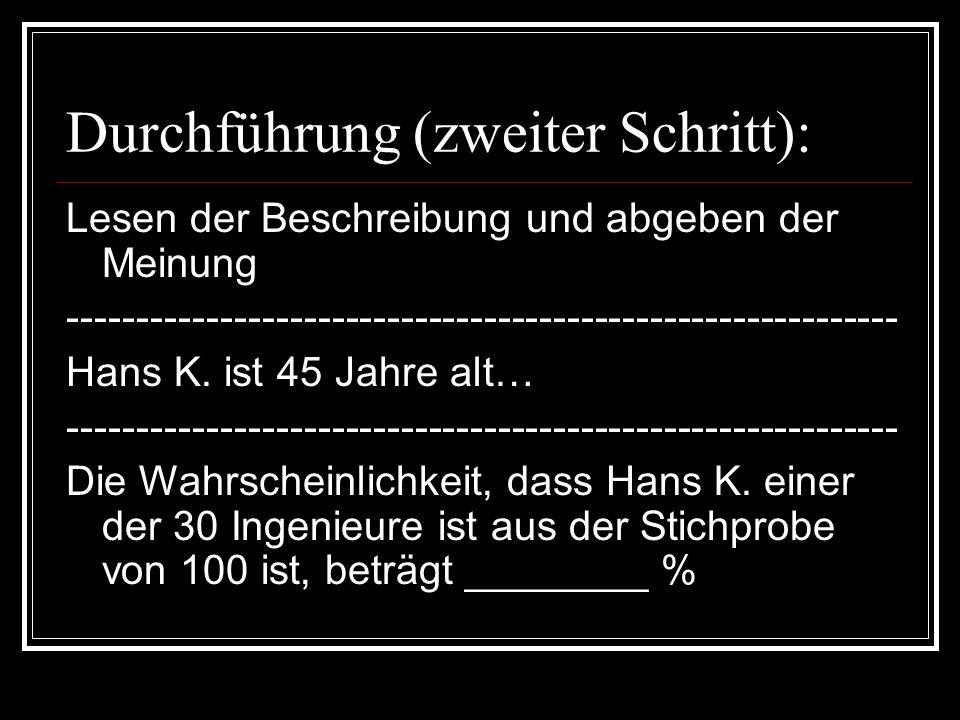Durchführung (zweiter Schritt): Lesen der Beschreibung und abgeben der Meinung ------------------------------------------------------------ Hans K. is