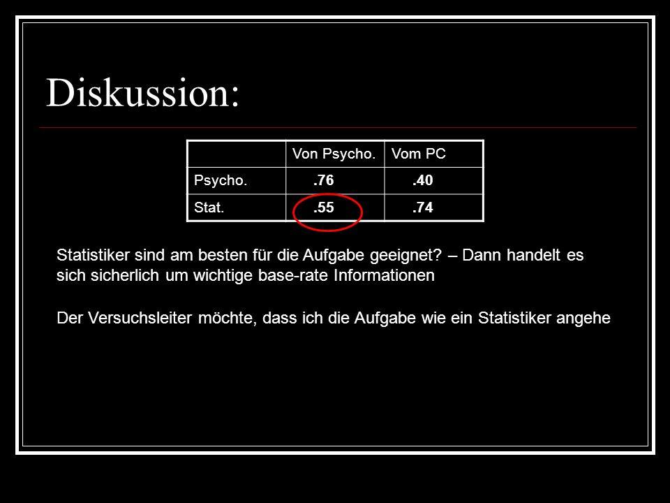 Diskussion: Von Psycho.Vom PC Psycho..76.40 Stat..55.74 Statistiker sind am besten für die Aufgabe geeignet? – Dann handelt es sich sicherlich um wich