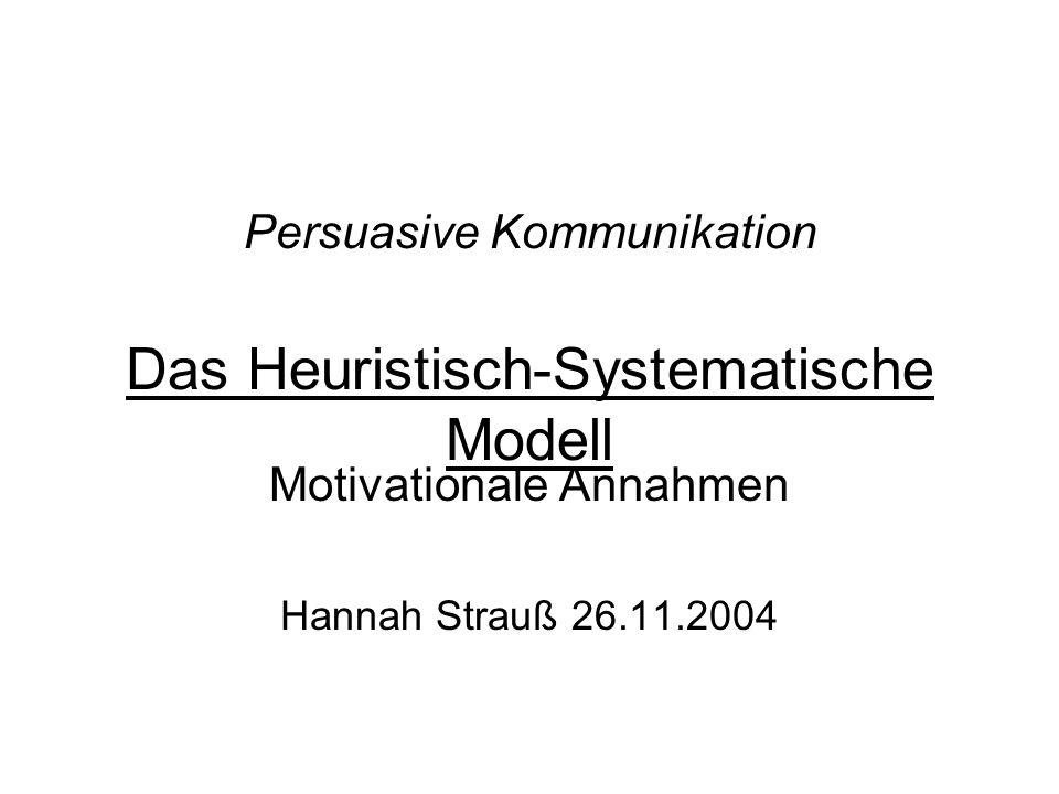 Persuasive Kommunikation Das Heuristisch-Systematische Modell Motivationale Annahmen Hannah Strauß 26.11.2004