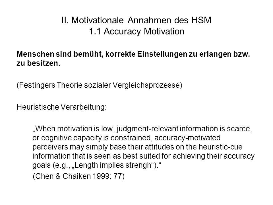 II. Motivationale Annahmen des HSM 1.1 Accuracy Motivation Menschen sind bemüht, korrekte Einstellungen zu erlangen bzw. zu besitzen. (Festingers Theo