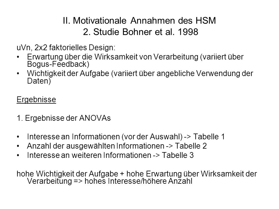 II. Motivationale Annahmen des HSM 2. Studie Bohner et al. 1998 uVn, 2x2 faktorielles Design: Erwartung über die Wirksamkeit von Verarbeitung (variier