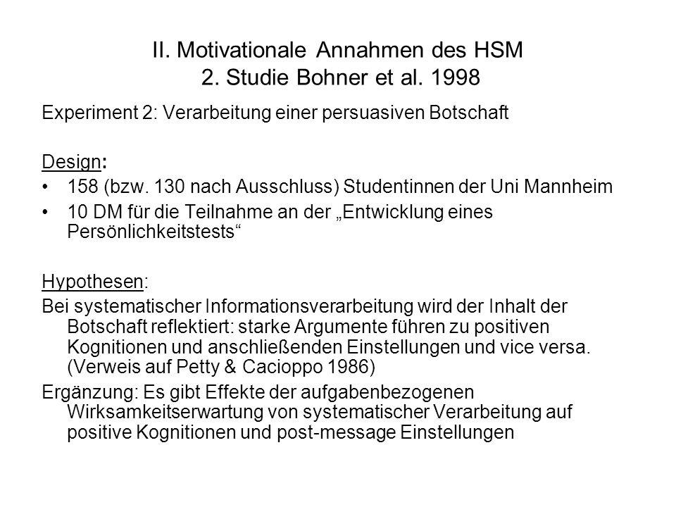 II. Motivationale Annahmen des HSM 2. Studie Bohner et al. 1998 Experiment 2: Verarbeitung einer persuasiven Botschaft Design: 158 (bzw. 130 nach Auss