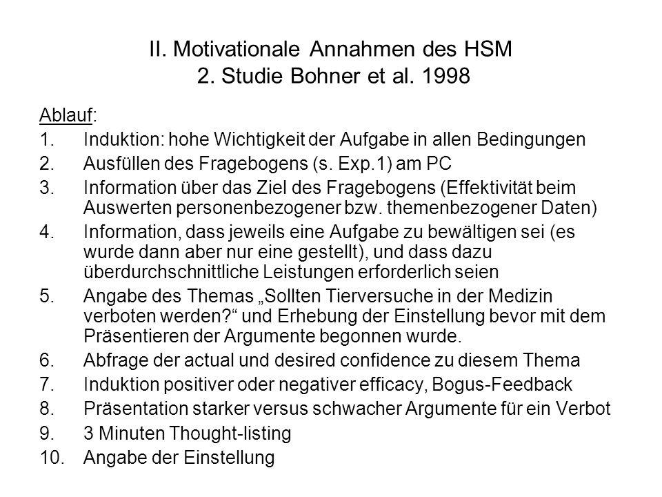 II. Motivationale Annahmen des HSM 2. Studie Bohner et al. 1998 Ablauf: 1.Induktion: hohe Wichtigkeit der Aufgabe in allen Bedingungen 2.Ausfüllen des