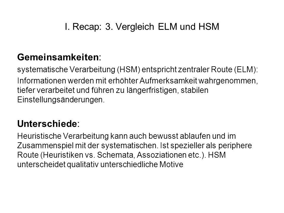 I. Recap: 3. Vergleich ELM und HSM Gemeinsamkeiten: systematische Verarbeitung (HSM) entspricht zentraler Route (ELM): Informationen werden mit erhöht