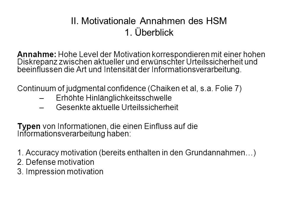 II. Motivationale Annahmen des HSM 1. Überblick Annahme: Hohe Level der Motivation korrespondieren mit einer hohen Diskrepanz zwischen aktueller und e