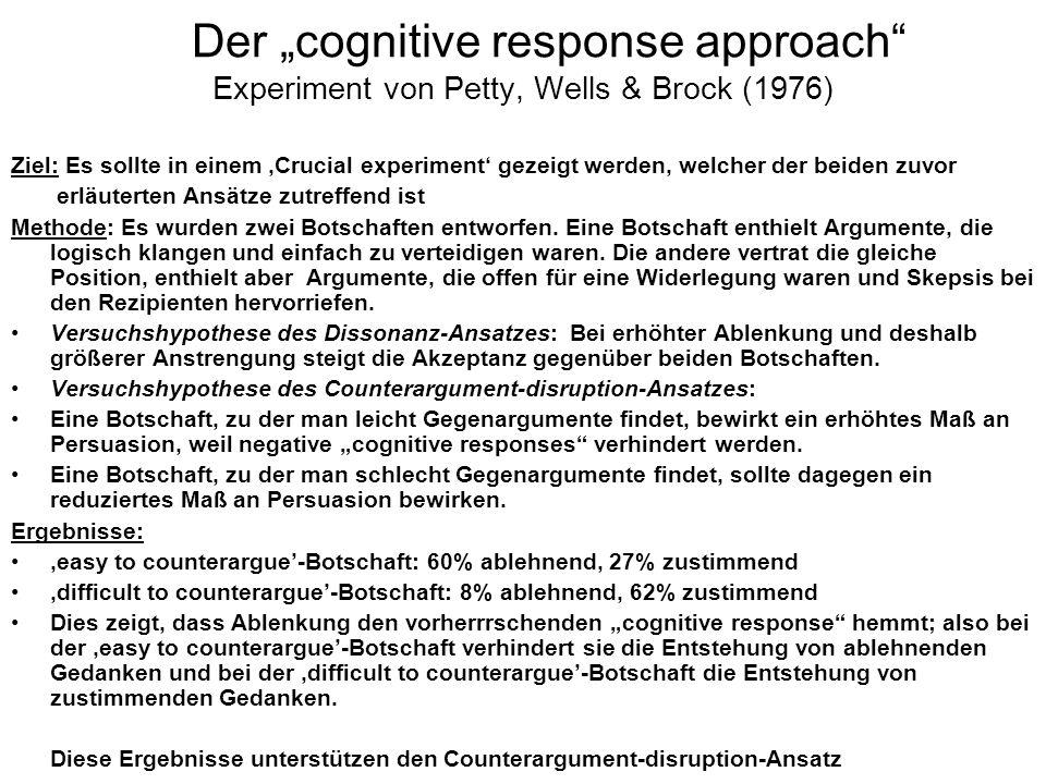 Der cognitive response approach Experiment von Petty, Wells & Brock (1976) Ziel: Es sollte in einem Crucial experiment gezeigt werden, welcher der bei
