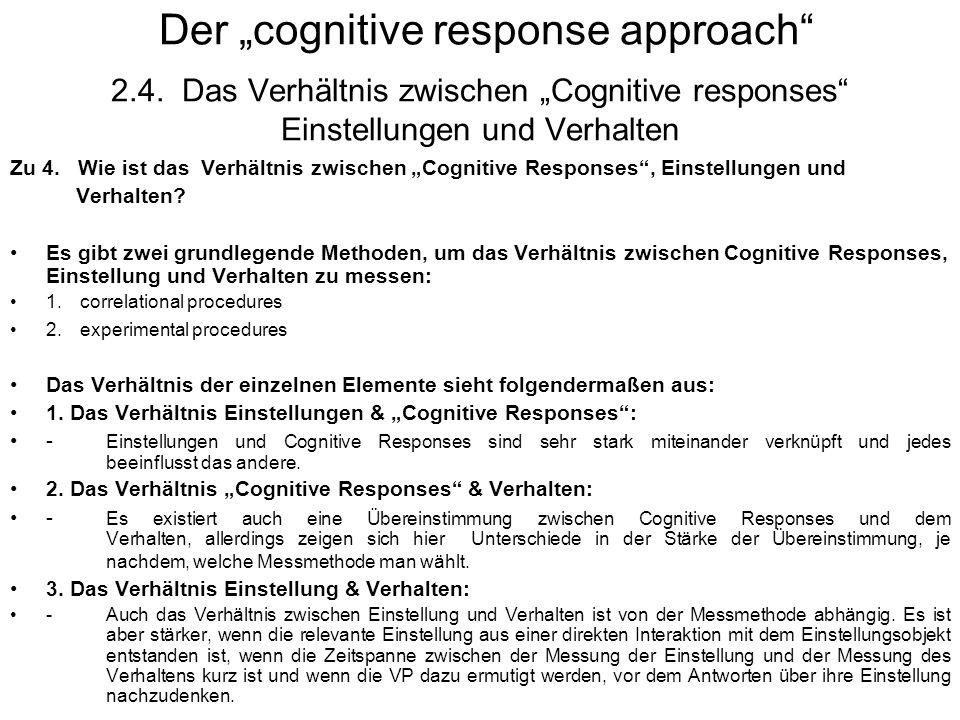 Der cognitive response approach 2.4. Das Verhältnis zwischen Cognitive responses Einstellungen und Verhalten Zu 4. Wie ist das Verhältnis zwischen Cog