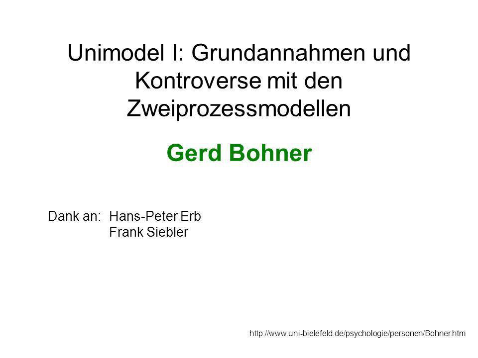 Unimodel I: Grundannahmen und Kontroverse mit den Zweiprozessmodellen Gerd Bohner http://www.uni-bielefeld.de/psychologie/personen/Bohner.htm Dank an:Hans-Peter Erb Frank Siebler