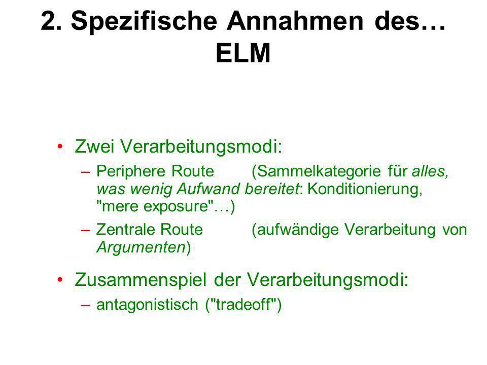2. Spezifische Annahmen des… ELM Zwei Verarbeitungsmodi: –Periphere Route(Sammelkategorie für alles, was wenig Aufwand bereitet: Konditionierung,