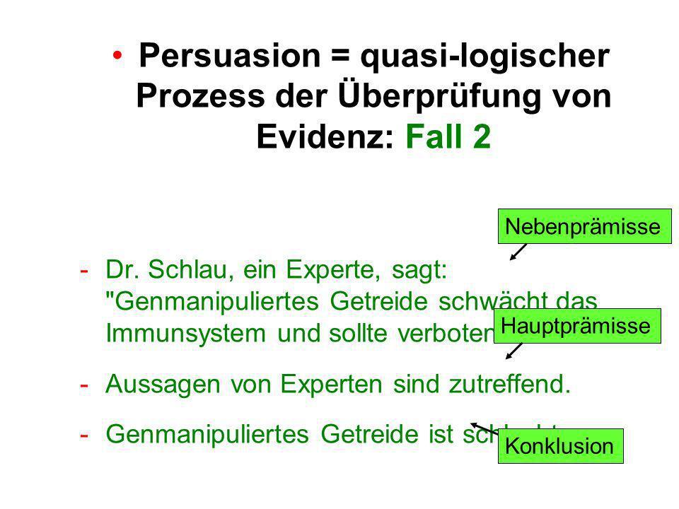 Persuasion = quasi-logischer Prozess der Überprüfung von Evidenz: Fall 2 -Dr.