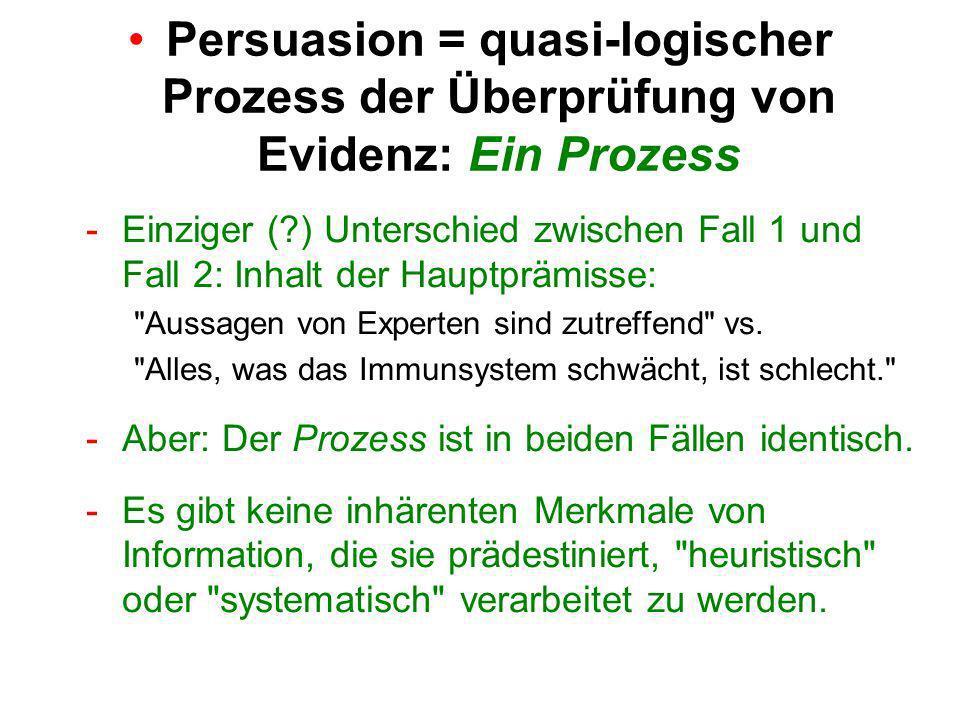 Persuasion = quasi-logischer Prozess der Überprüfung von Evidenz: Ein Prozess -Einziger ( ) Unterschied zwischen Fall 1 und Fall 2: Inhalt der Hauptprämisse: Aussagen von Experten sind zutreffend vs.