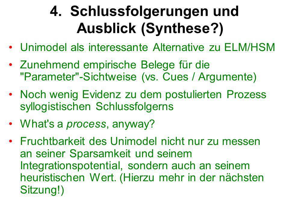 Unimodel als interessante Alternative zu ELM/HSM Zunehmend empirische Belege für die Parameter -Sichtweise (vs.