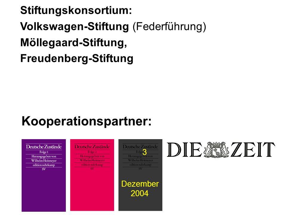 Stiftungskonsortium: Volkswagen-Stiftung (Federführung) Möllegaard-Stiftung, Freudenberg-Stiftung Kooperationspartner: 3 Dezember 2004