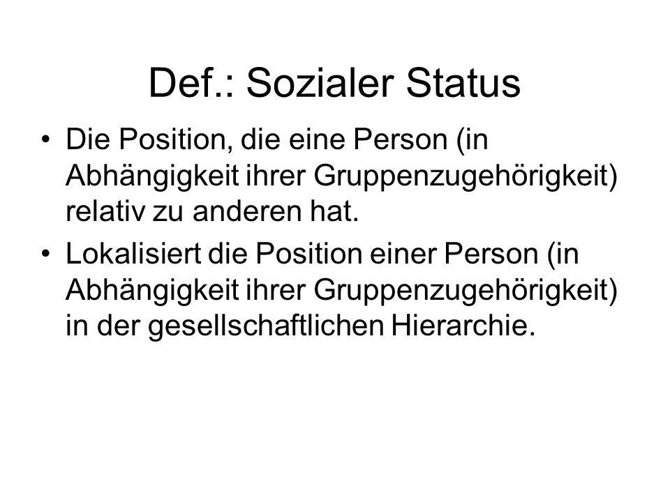 Def.: Sozialer Status Die Position, die eine Person (in Abhängigkeit ihrer Gruppenzugehörigkeit) relativ zu anderen hat. Lokalisiert die Position eine