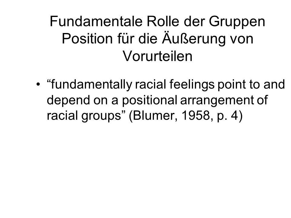 Fundamentale Rolle der Gruppen Position für die Äußerung von Vorurteilen fundamentally racial feelings point to and depend on a positional arrangement