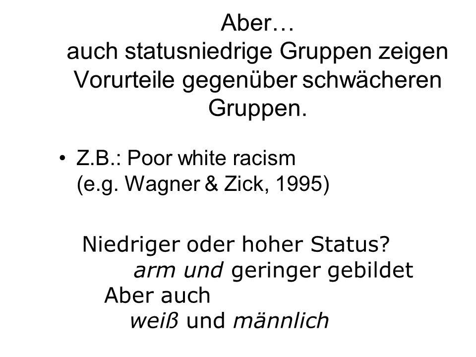 Aber… auch statusniedrige Gruppen zeigen Vorurteile gegenüber schwächeren Gruppen. Z.B.: Poor white racism (e.g. Wagner & Zick, 1995) Niedriger oder h