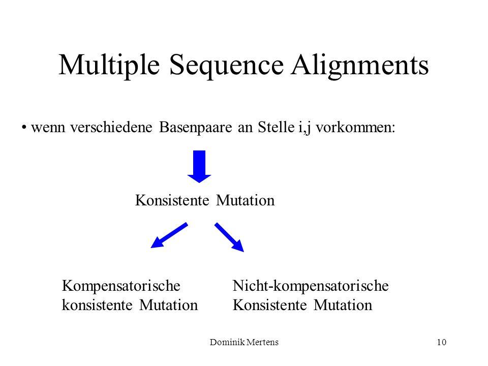 Dominik Mertens10 wenn verschiedene Basenpaare an Stelle i,j vorkommen: Multiple Sequence Alignments Konsistente Mutation Kompensatorische konsistente