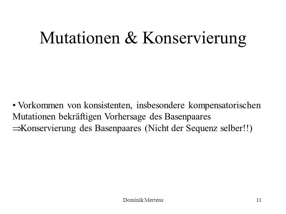 Dominik Mertens11 Vorkommen von konsistenten, insbesondere kompensatorischen Mutationen bekräftigen Vorhersage des Basenpaares Konservierung des Basen