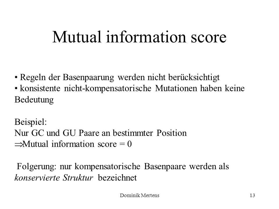 Dominik Mertens13 Regeln der Basenpaarung werden nicht berücksichtigt konsistente nicht-kompensatorische Mutationen haben keine Bedeutung Beispiel: Nu