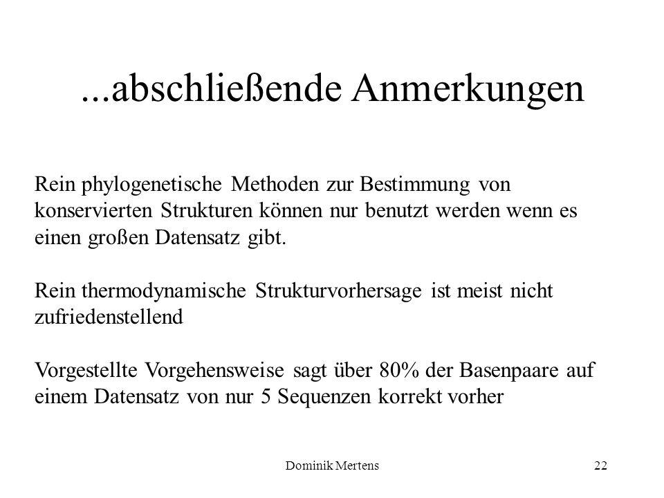 Dominik Mertens22...abschließende Anmerkungen Rein phylogenetische Methoden zur Bestimmung von konservierten Strukturen können nur benutzt werden wenn
