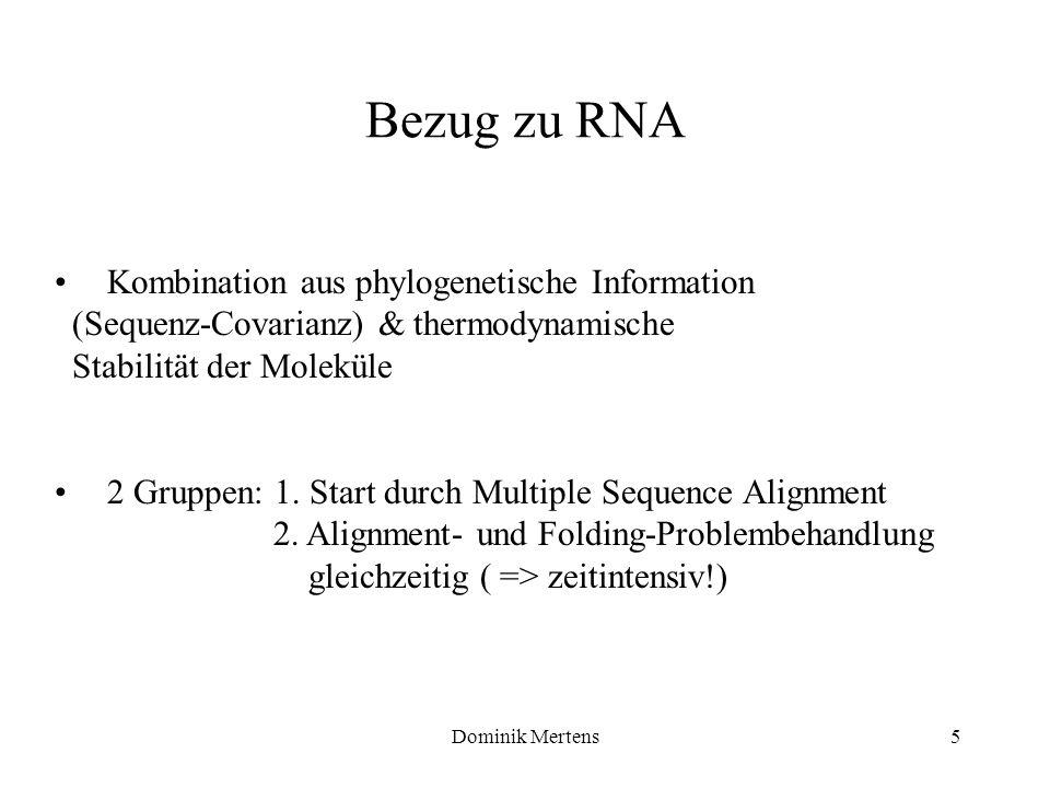 Dominik Mertens5 Kombination aus phylogenetische Information (Sequenz-Covarianz) & thermodynamische Stabilität der Moleküle 2 Gruppen: 1. Start durch