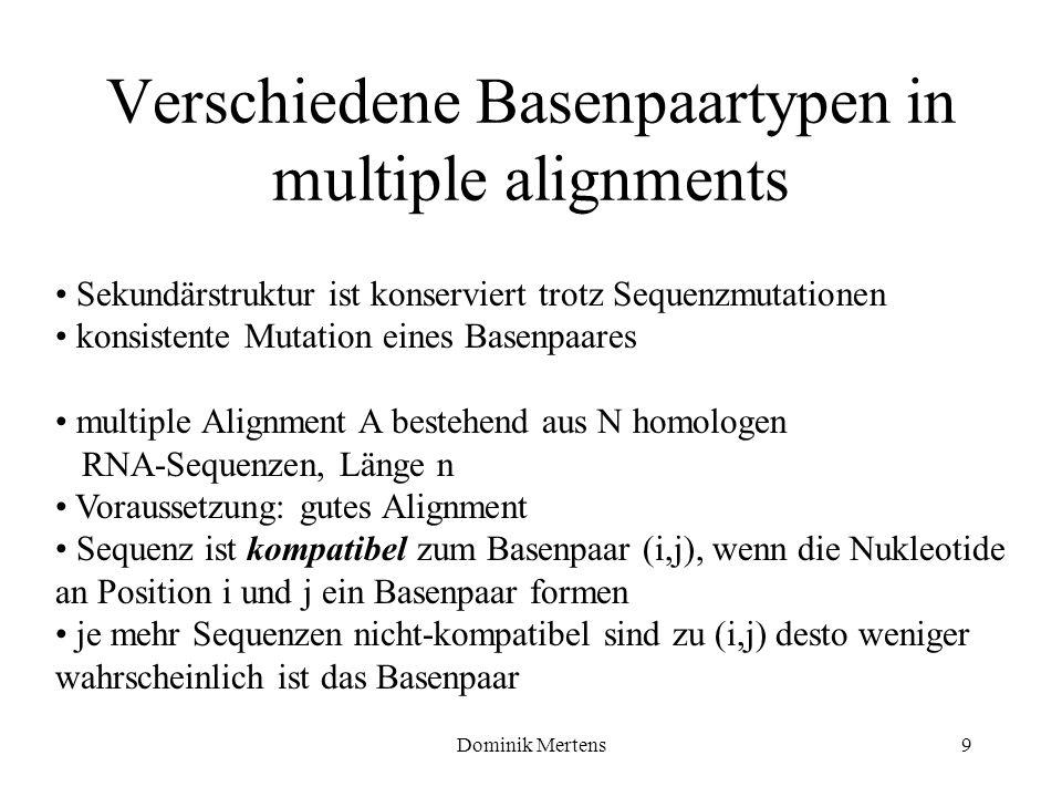 Dominik Mertens9 Verschiedene Basenpaartypen in multiple alignments Sekundärstruktur ist konserviert trotz Sequenzmutationen konsistente Mutation eine