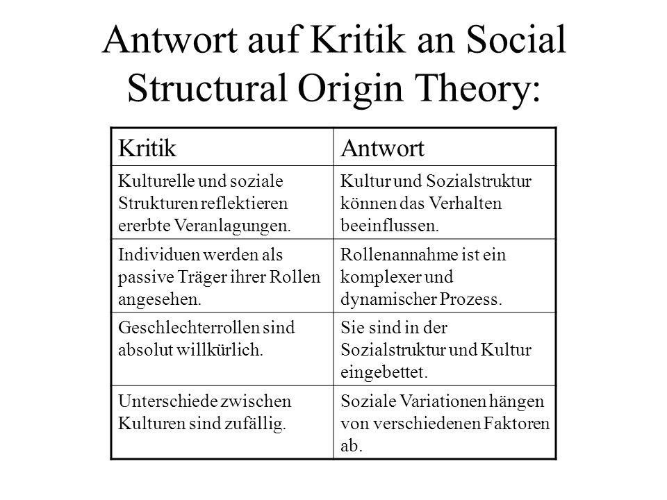 Antwort auf Kritik an Social Structural Origin Theory: KritikAntwort Kulturelle und soziale Strukturen reflektieren ererbte Veranlagungen. Kultur und