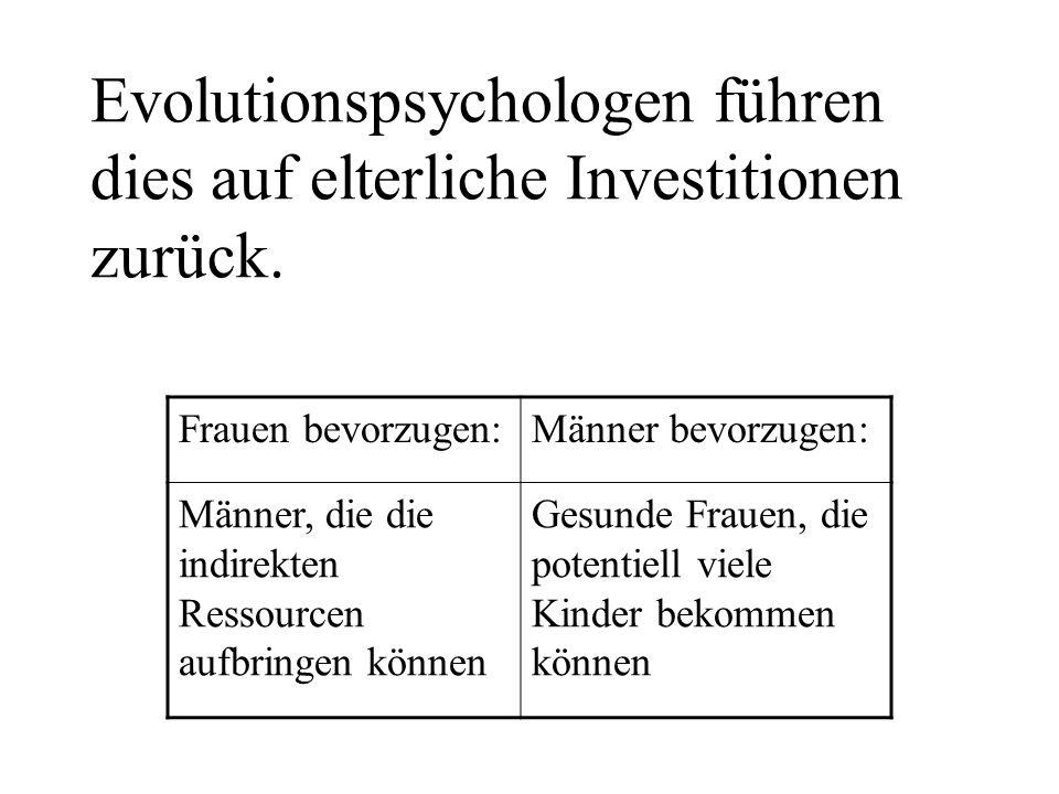 Evolutionspsychologen führen dies auf elterliche Investitionen zurück. Frauen bevorzugen:Männer bevorzugen: Männer, die die indirekten Ressourcen aufb