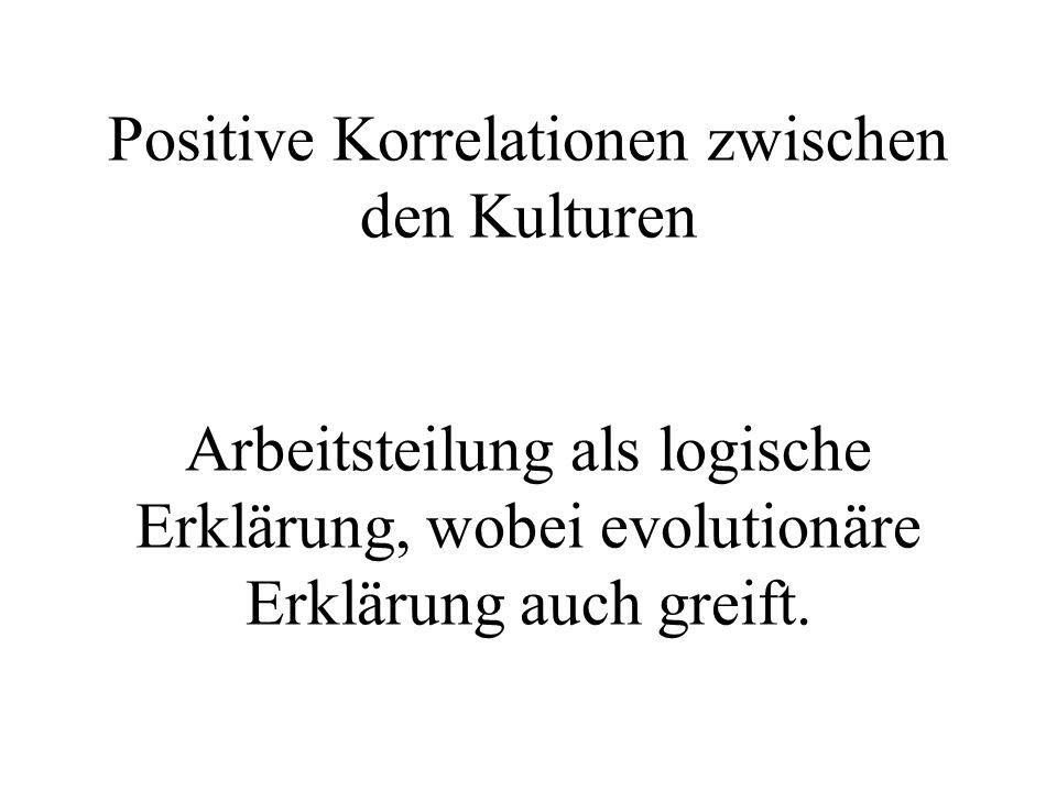 Positive Korrelationen zwischen den Kulturen Arbeitsteilung als logische Erklärung, wobei evolutionäre Erklärung auch greift.