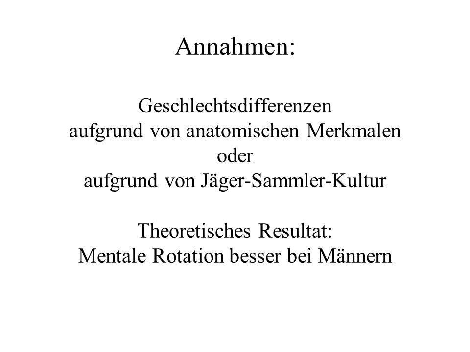 Annahmen: Geschlechtsdifferenzen aufgrund von anatomischen Merkmalen oder aufgrund von Jäger-Sammler-Kultur Theoretisches Resultat: Mentale Rotation b