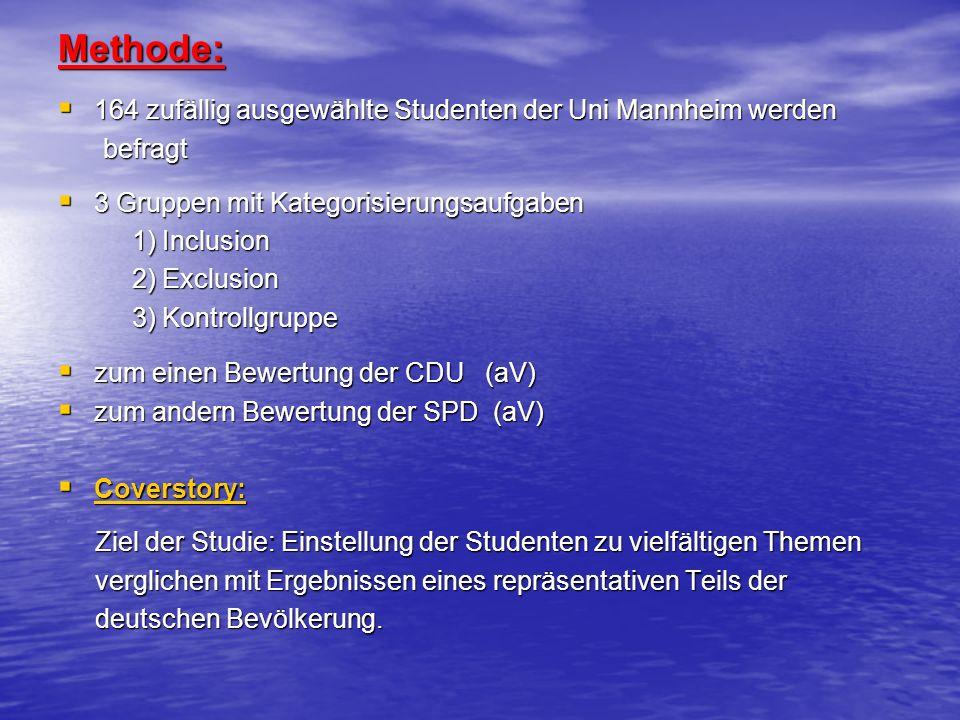 Methode: 164 zufällig ausgewählte Studenten der Uni Mannheim werden 164 zufällig ausgewählte Studenten der Uni Mannheim werden befragt befragt 3 Grupp
