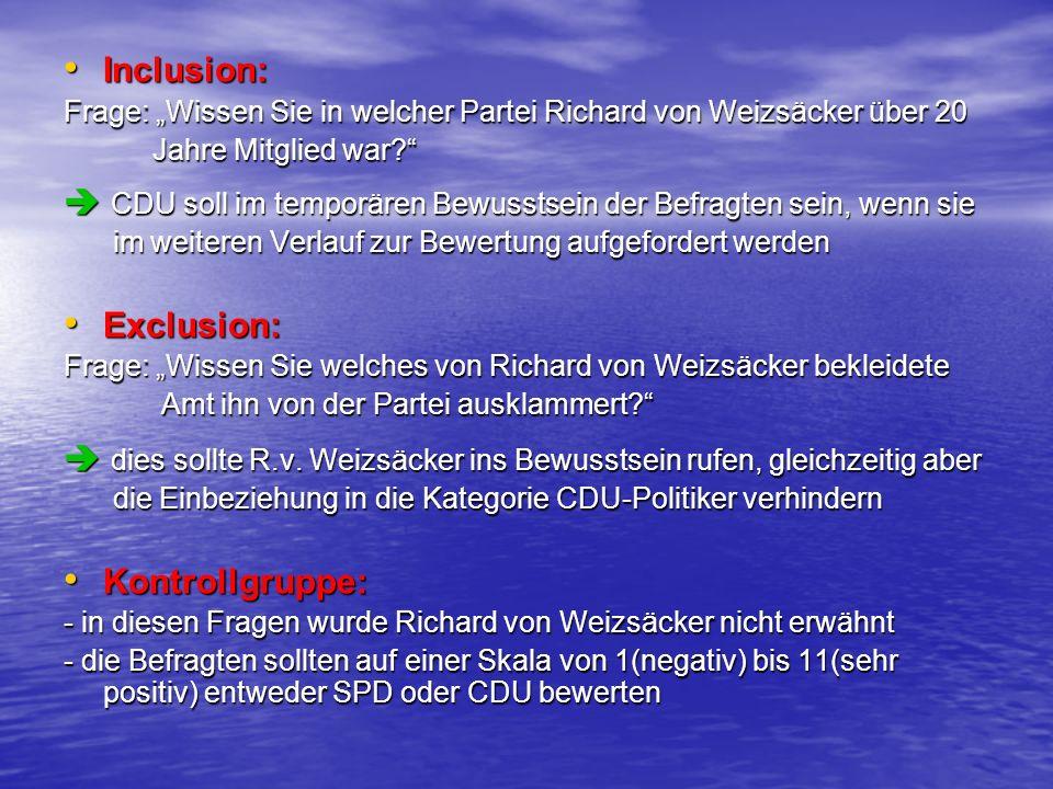 Inclusion: Inclusion: Frage: Wissen Sie in welcher Partei Richard von Weizsäcker über 20 Jahre Mitglied war? Jahre Mitglied war? CDU soll im temporäre