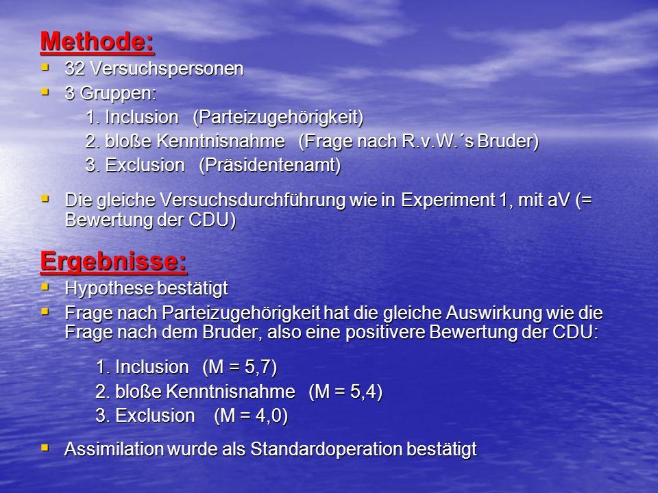 Methode: 32 Versuchspersonen 32 Versuchspersonen 3 Gruppen: 3 Gruppen: 1. Inclusion (Parteizugehörigkeit) 1. Inclusion (Parteizugehörigkeit) 2. bloße