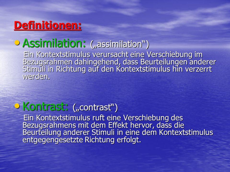 Definitionen: Assimilation: (assimilation) Assimilation: (assimilation) Ein Kontextstimulus verursacht eine Verschiebung im Bezugsrahmen dahingehend,