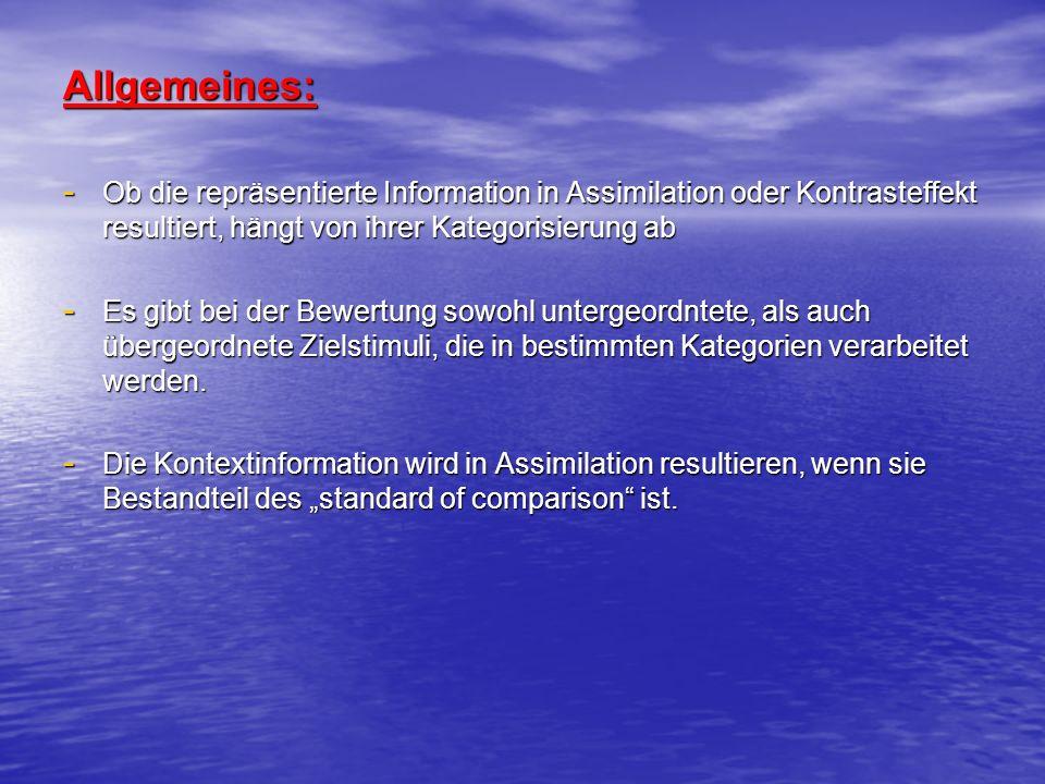 Auswirkungen der Kontextinformationen: Auswirkungen der Kontextinformationen: 3 Gründe, warum verfügbare Informationen nicht immer Bestandteil der Repräsentation werden: 3 Gründe, warum verfügbare Informationen nicht immer Bestandteil der Repräsentation werden: 1) Die Information wird einem irrelevanten Faktor zugeschrieben 2) Die Information bezieht sich nicht bzw.