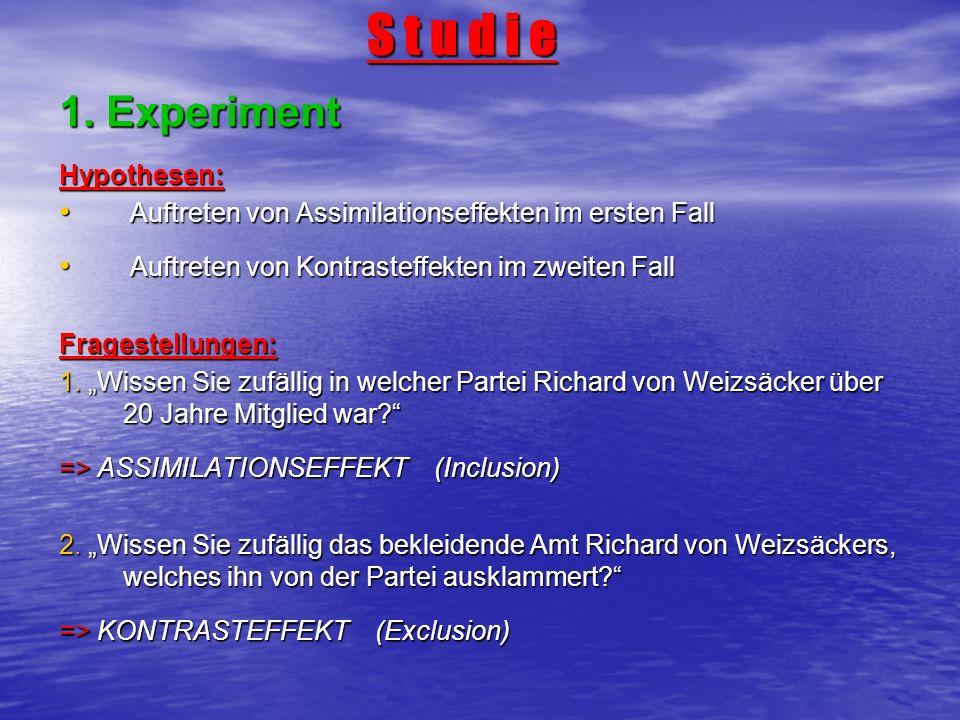 S t u d i e S t u d i e 1. Experiment Hypothesen: Auftreten von Assimilationseffekten im ersten Fall Auftreten von Assimilationseffekten im ersten Fal
