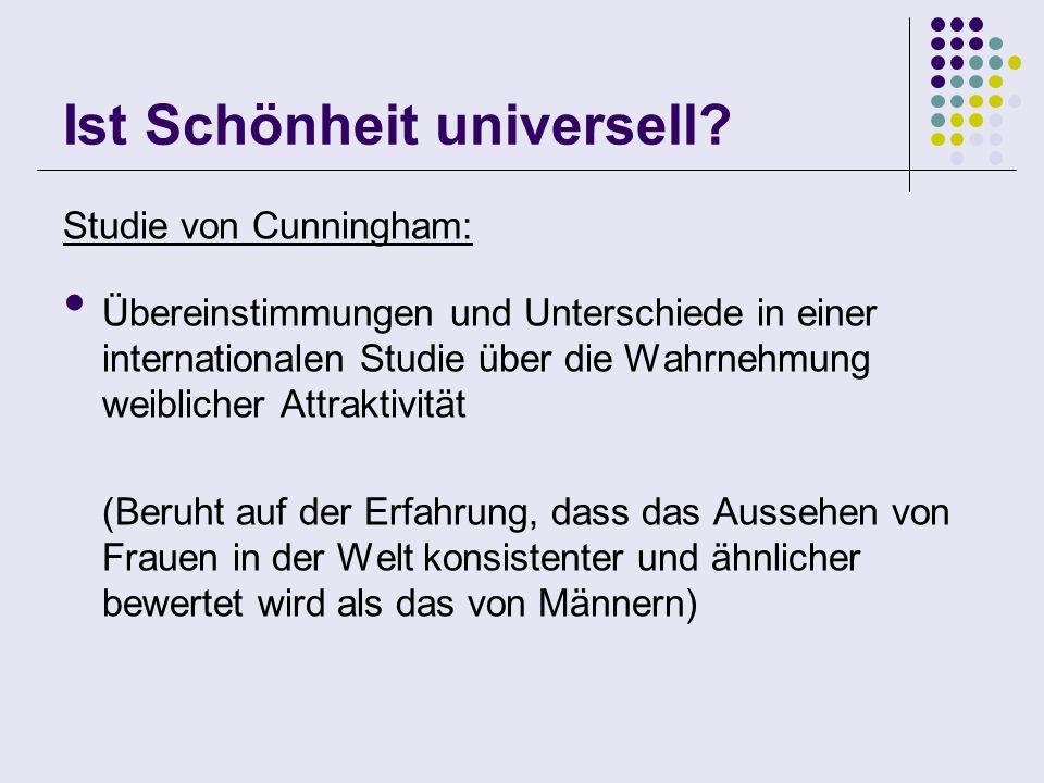 Ist Schönheit universell? Studie von Cunningham: Übereinstimmungen und Unterschiede in einer internationalen Studie über die Wahrnehmung weiblicher At