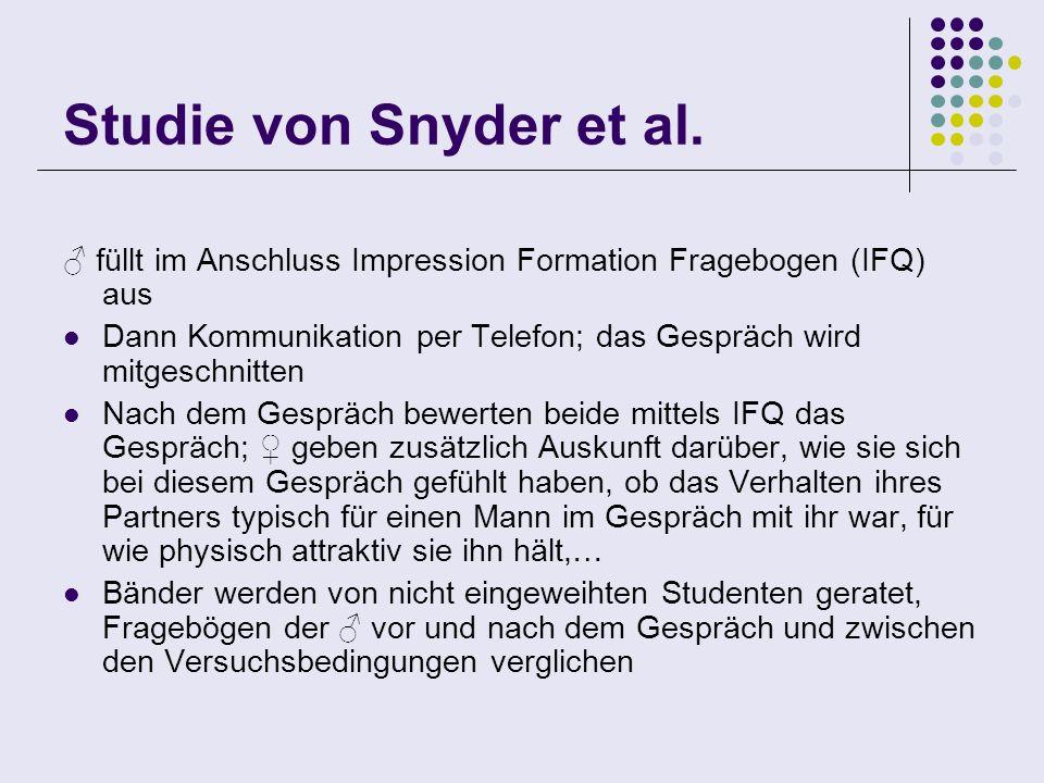 Studie von Snyder et al. füllt im Anschluss Impression Formation Fragebogen (IFQ) aus Dann Kommunikation per Telefon; das Gespräch wird mitgeschnitten