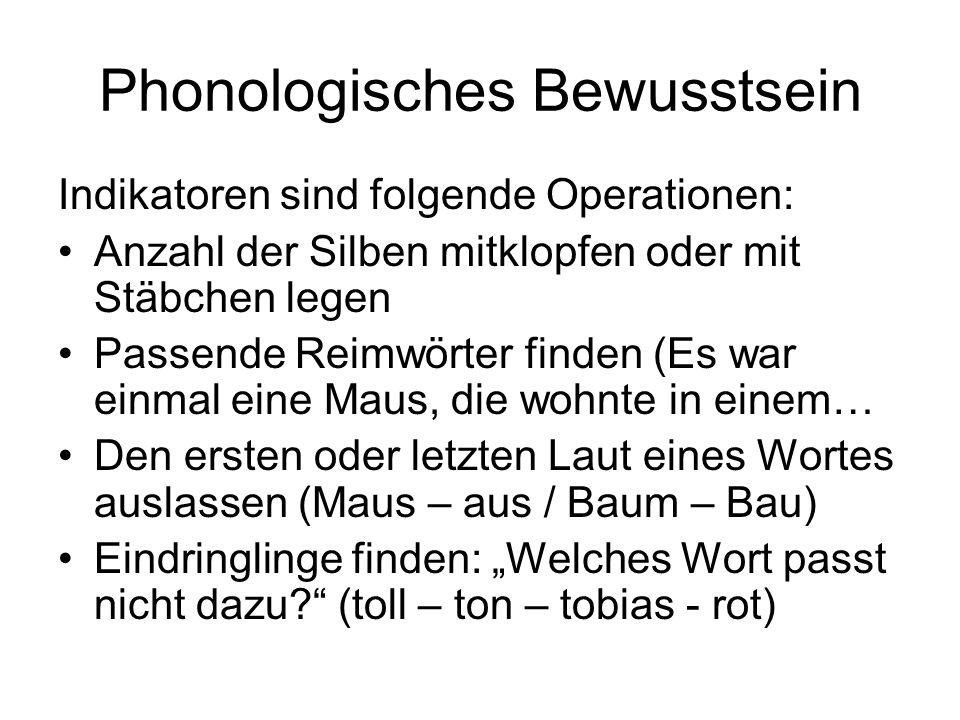 Phonologisches Bewusstsein Indikatoren sind folgende Operationen: Anzahl der Silben mitklopfen oder mit Stäbchen legen Passende Reimwörter finden (Es