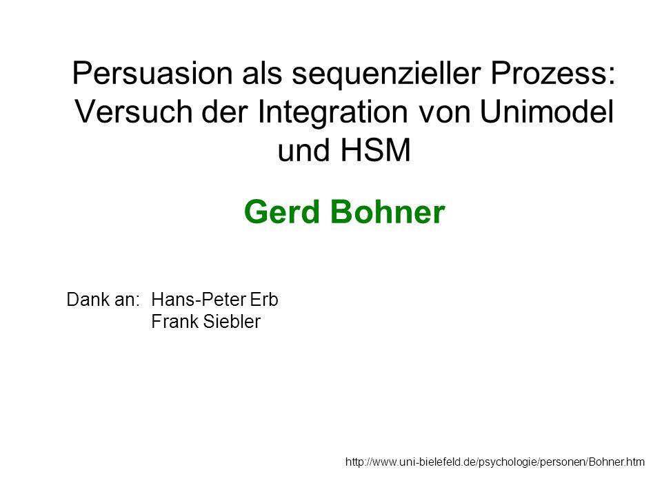 Persuasion als sequenzieller Prozess: Versuch der Integration von Unimodel und HSM Gerd Bohner http://www.uni-bielefeld.de/psychologie/personen/Bohner