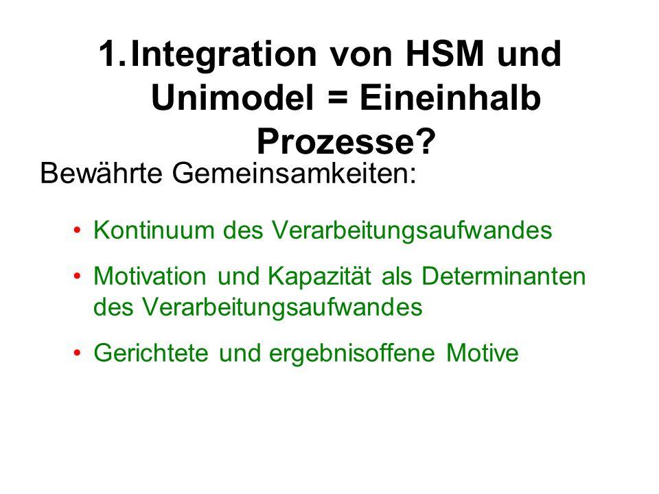 1.Integration von HSM und Unimodel = Eineinhalb Prozesse? Bewährte Gemeinsamkeiten: Kontinuum des Verarbeitungsaufwandes Motivation und Kapazität als