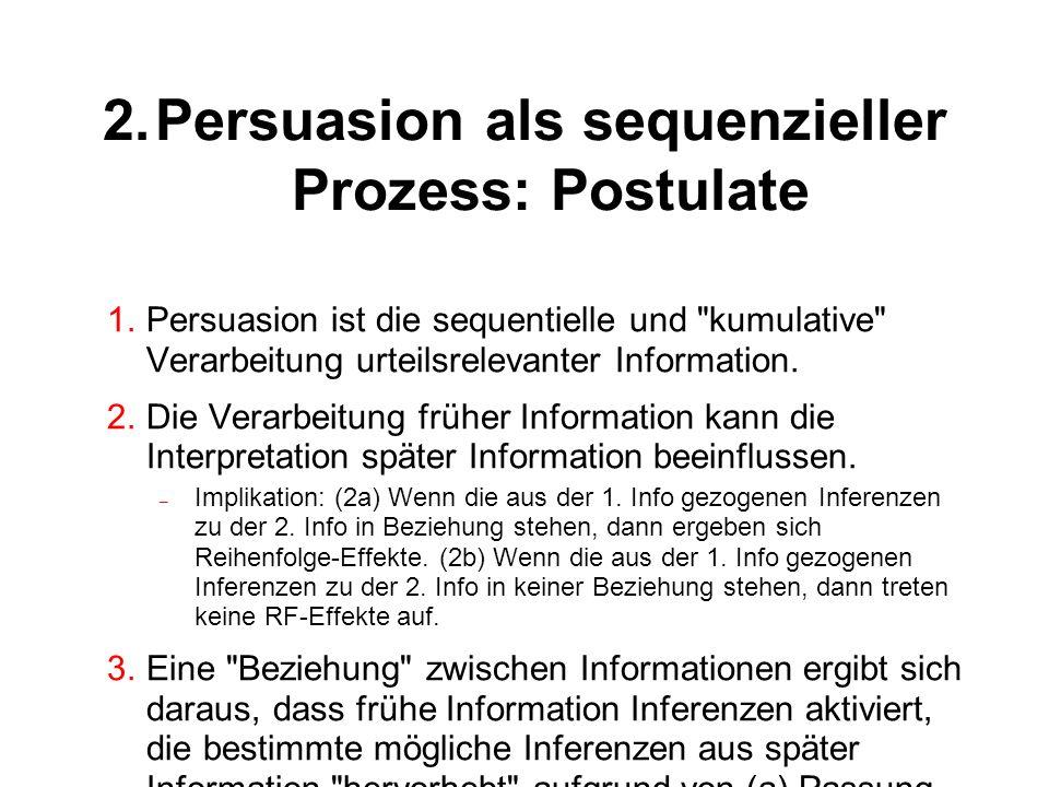 2.Persuasion als sequenzieller Prozess: Postulate 4.Das Trägheitspostulat besagt, dass frühe Inferenzen eine gewisse Änderungsresistenz aufweisen.